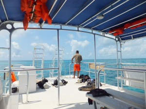 The dive boat out on the barrier reef.