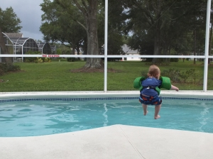 Jumping in the pool attached to the house. Total selling point. :)