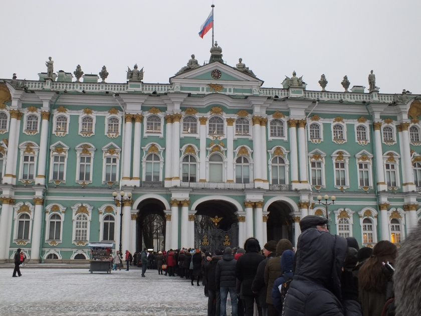 The visible portion of the line outside the Winter Palace...the other half of it stretched across the inside courtyard.