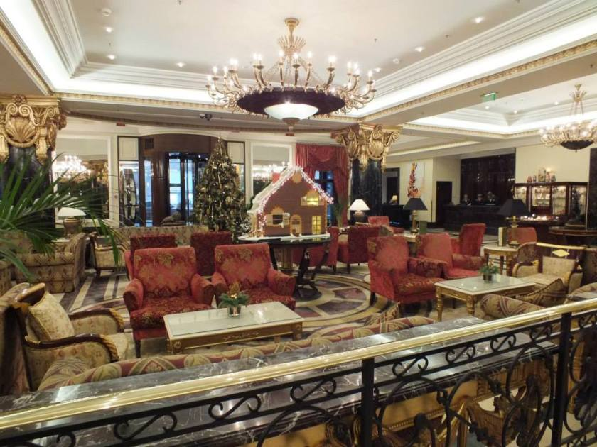The lobby of the Ritz-Carlton with gingerbread house.