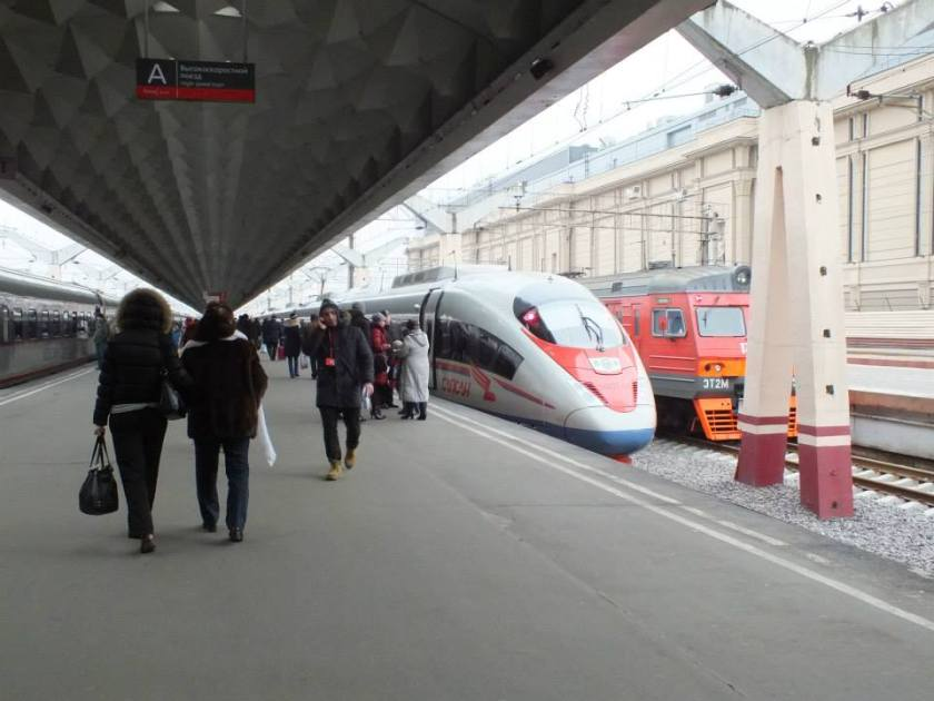 The Sapsan high-speed train to Moscow.