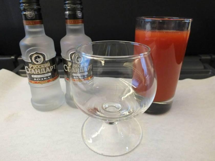 Russian Standard vodka and tomato juice.