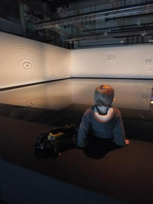 Our son checking out the immersive ice exhibit.