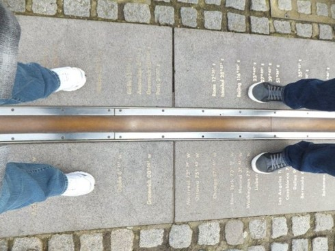 Straddling two hemispheres across the prime meridian.