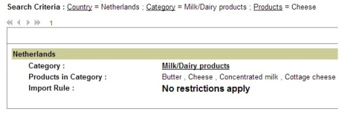 DEFRA search results for Dutch cheese.