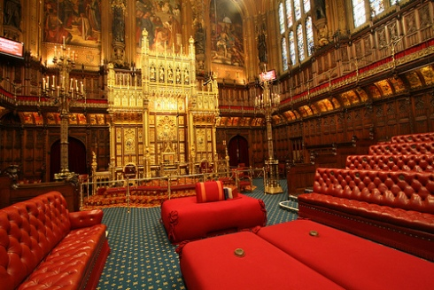 House of Lords with Queen's throne.