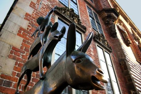 A bronze statue by Gerhard Marcks depicting the Bremen Town Musicians located in Bremen.