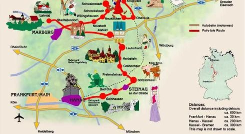 Grimm Brothers Fairy Tale Road Map.