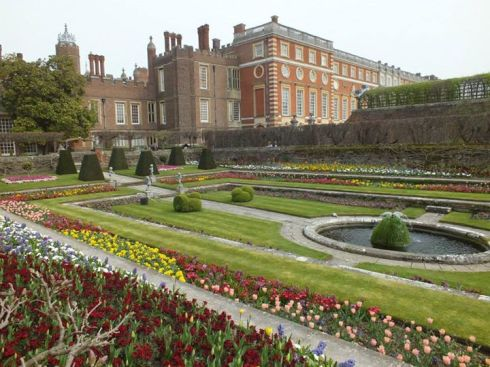 Hampton Court view from the formal gardens.