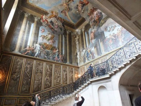 Amazing mural designed by William Kent above the Grand Staircase to William III's apartments.