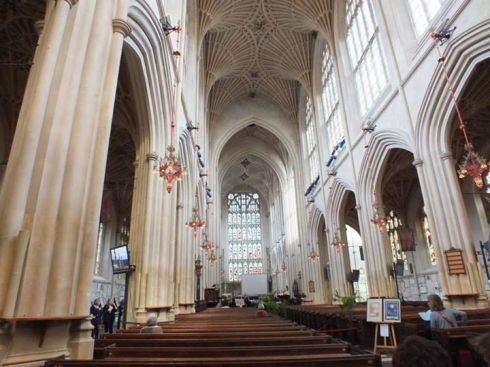Inside Bath Abbey.