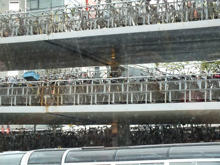 Three-story bike parking garage.