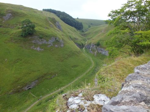 View of Cave Dale from Peveril Castle.