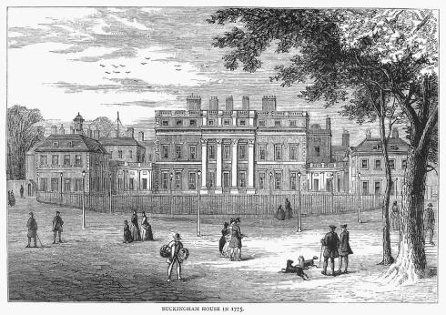 Buckingham House, London, England, as it appeared in 1775. Wood engraving, English, c1875 by Charles Henry Granger.
