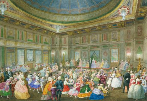 The Children's Fancy Ball at Buckingham Palace, 7th April 1859. by Eugenio Agneni in pencil and watercolour.