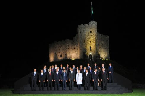 World leaders pose for photo at Cardiff Castle.