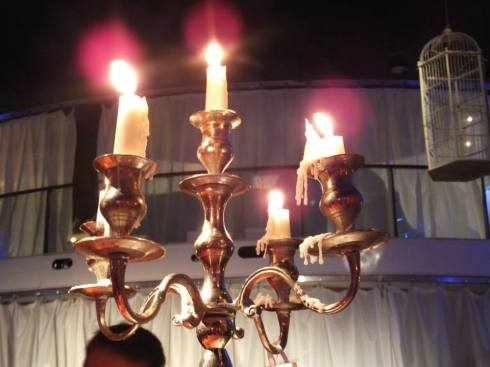 Candelabra with drippy candles.