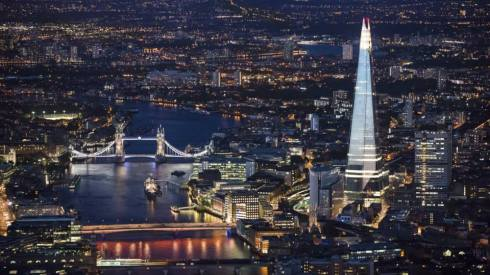 Oblix restaurant is on the 32nd floor of the Shard on the right (internet photo).