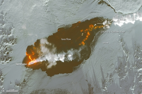 Lava at eruption site. (Photo: NASA image courtesy of the Institute of Earth Sciences.)