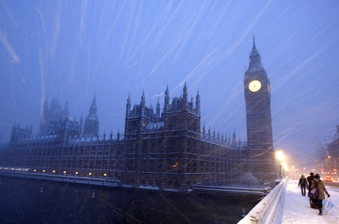 Parliament in snow.
