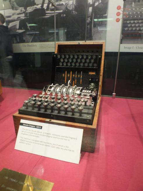 An Enigma machine on display in the museum.