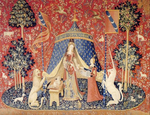 Our reproduction tapestry of À Mon Seul Désir - the original was created in the 1500s and is now in Musée national du Moyen Âge in Paris.
