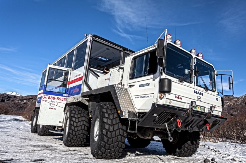 The MAN 8x8 off-road Personnel Carrier, originally built for the German army and now used in Iceland for glacier tours.