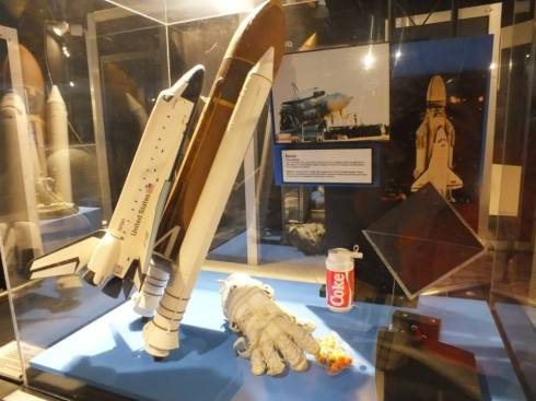 A model display of the Space Shuttle.