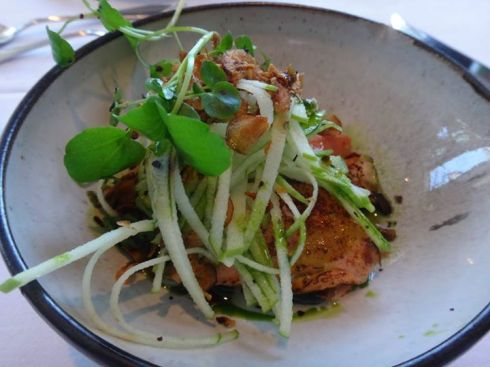 Lava Restaurant, Blue Lagoon: Arctic char with fennel, pearl onion, cucumber, toasted bread aioli.