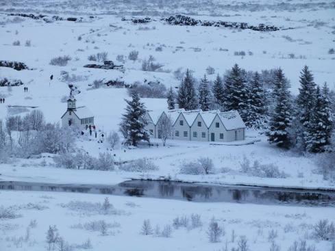 Þingvellir farm and church on the Golden Circle.