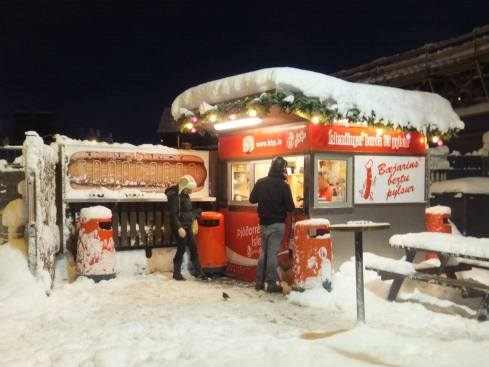 Holiday spirit at the hot dog stand!
