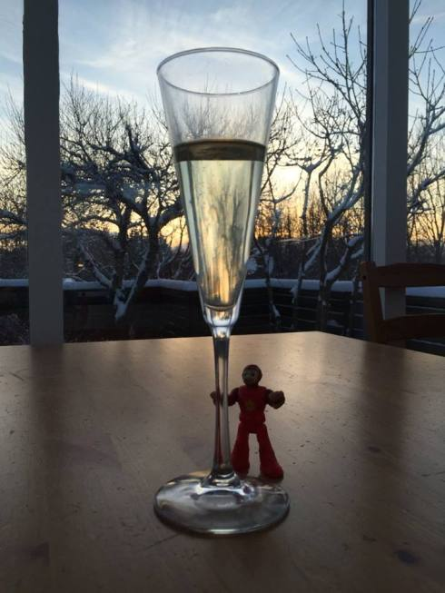 A little glass of birthday champagne...and one of A's toys that happened to be on the table.