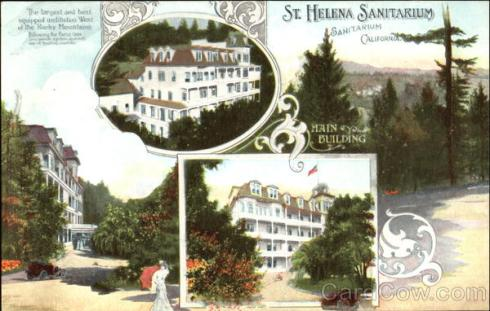 Old postcard of St. Helena Sanitarium. Source: Cardcow.com.