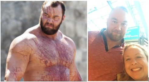 "Hafþór Björnsson as ""The Mountain"" in Game of Thrones and at the airport in Keflavik."