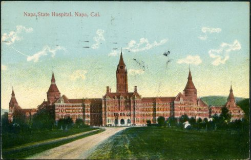 Old postcard of Napa State Hospital for the Insane.