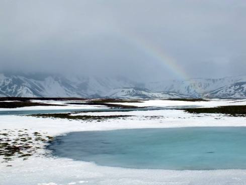 Rainbow and melt pond on the Golden Circle.