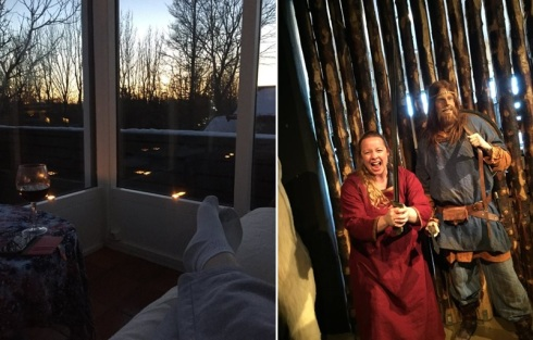 :eft: Enjoying sunset and wine in the solarium. Right: Getting into character at the Saga Museum.