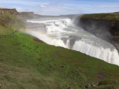 Rainbow over Gullfoss waterfall.