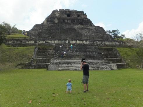 Daddy and A getting ready to tackle Xunantunich.
