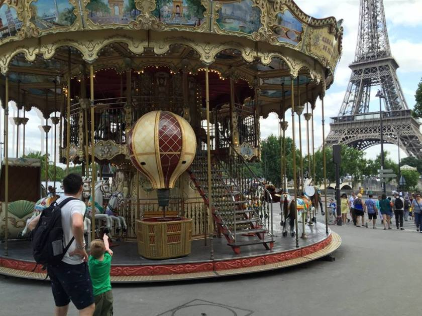 The antique carousel across the Seine from the Eiffel Tower.