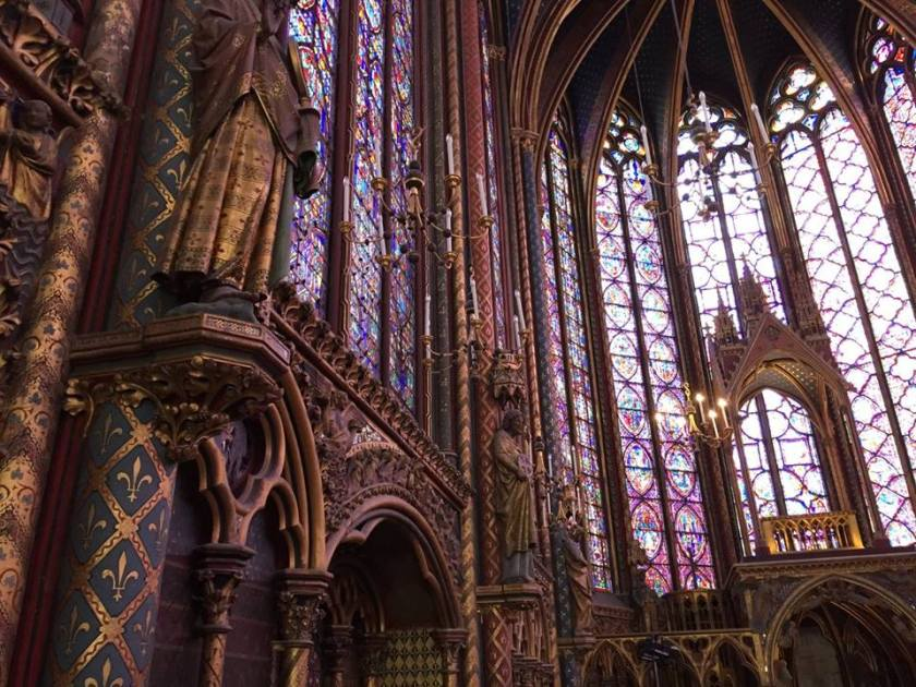 Inside the high chapel at Ste. Chapelle on the Île de la Cité.
