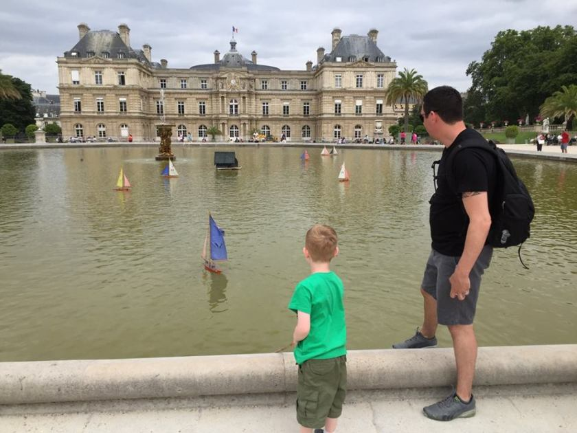 Boating on the lake in the Jardin des Tuileries.
