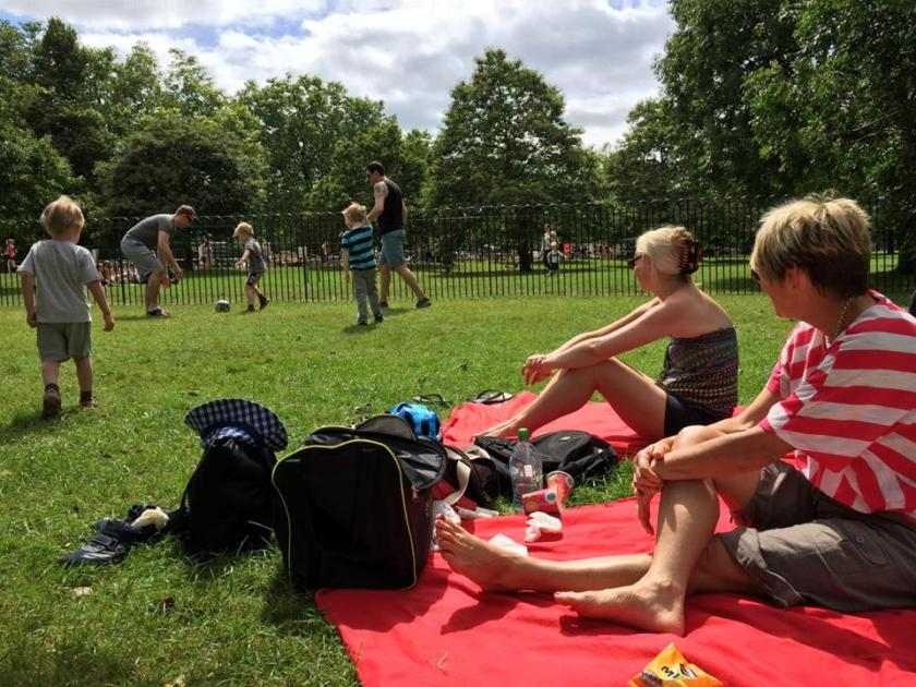 Family picnic with friends in Hyde Park.