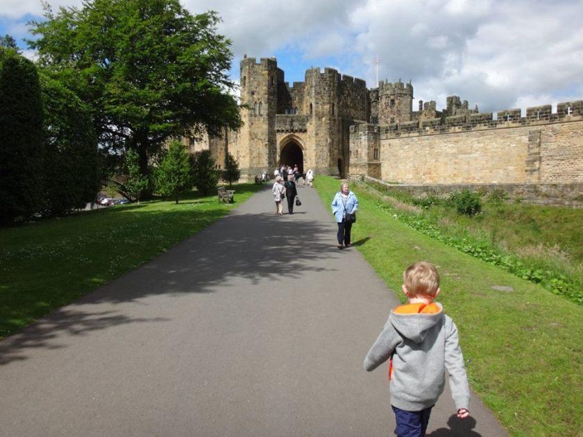 Approaching Alnwick Castle.