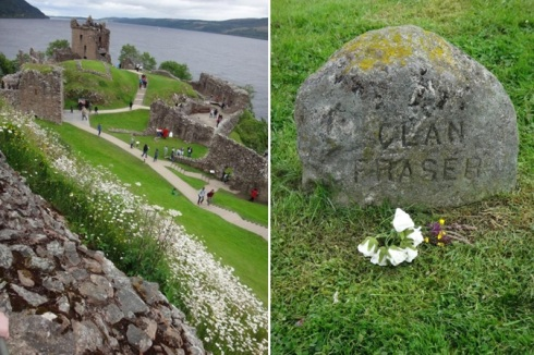 Urquhart Castle and the Fraser Clan marker at Culloden Battlefield.