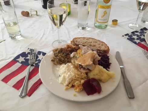 Trying a little bit of everything at the Embassy Thanksgiving.